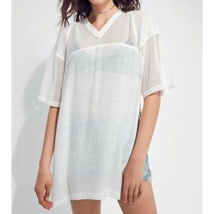 White Sheer Mesh Detail Tunic by Silence+Noise